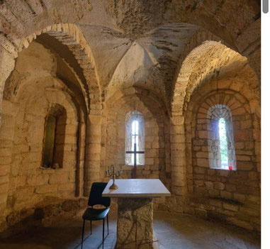 The Romanesque crypt below the church