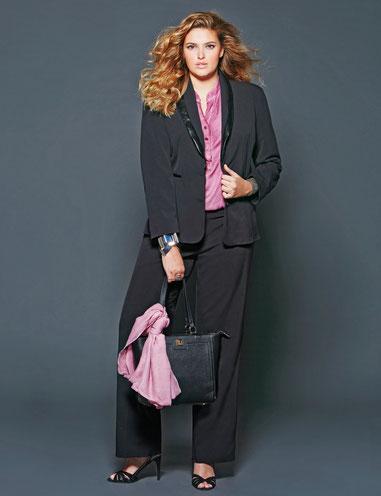 Plus Size Fashion für modische Frauen , Damenkleidung in großen Größen , chicke Smokinganzug für runde Frauen
