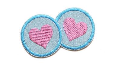 Herz Patch rosa Jeans Flicken mini Aufnaeher zum aufbuegeln