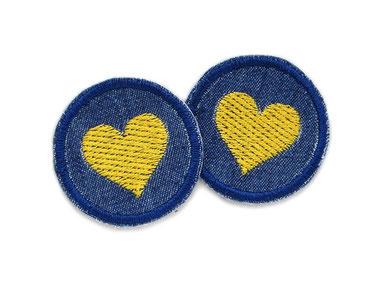 Herz Patch goldgelb Jeans Flicken mini Aufnaeher zum aufbuegeln