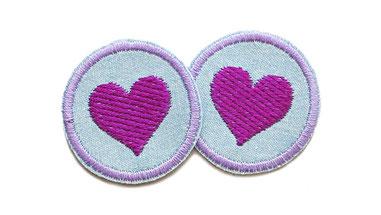 Herz Patch lila Jeans Flicken mini Aufnaeher zum aufbuegeln