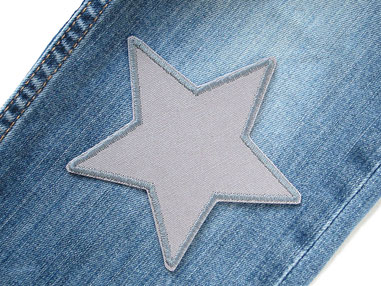 Canvas Stern grau, Aufnäher Patch Bügelflicken Hosenflicken