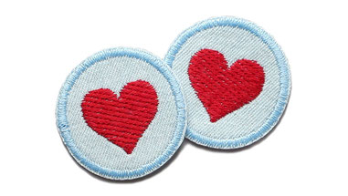 Herz Patch Jeans Flicken mini Aufnaeher zum aufbuegeln