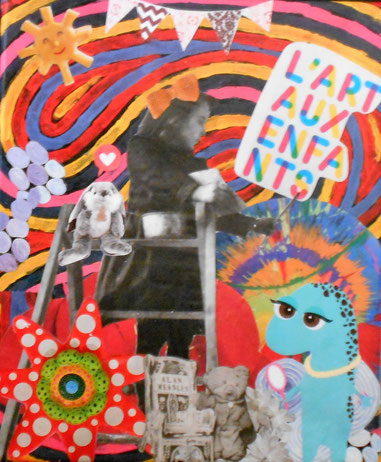 Collage tableau sur toile L'art aux enfants