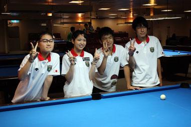 『アジアジュニア』に出場した日本の4選手。左から奥田、平口、神箸、佐々木 ※写真提供:NBA(以下同)