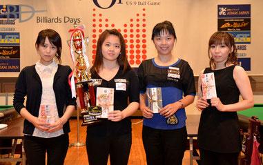 ジャパンオープン入賞者。左から、3位・夕川景子、優勝・吳芷婷、2位・李佳、3位・和泉早衣子