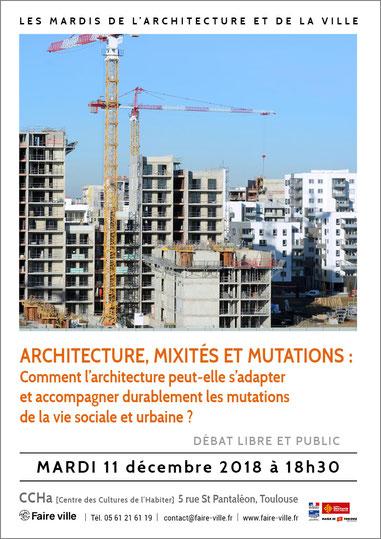 """Débat des """"Mardis de l'Architecture et de la ville"""" au CCHa, le 11 décembre 2018"""