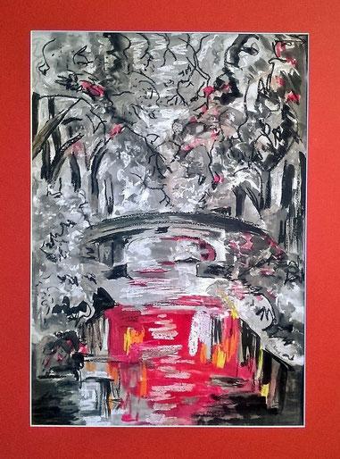 Les platanes du Canal du Midi, Pastel gras+encre de chine