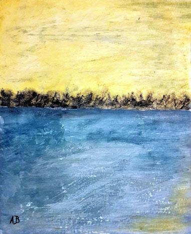 Meerlandschaft, Ölgemälde, Wasser, Himmel, Meer, Bäume, Abstrakt, moderne Malerei, Ölmalerei, Landschaftsbild, Ölbild, abstrakte Kunst