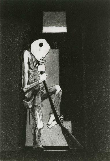 Elegy for a New Conscript: Sentinel / etching, aquatint / 23.8×16.2cm / 1954