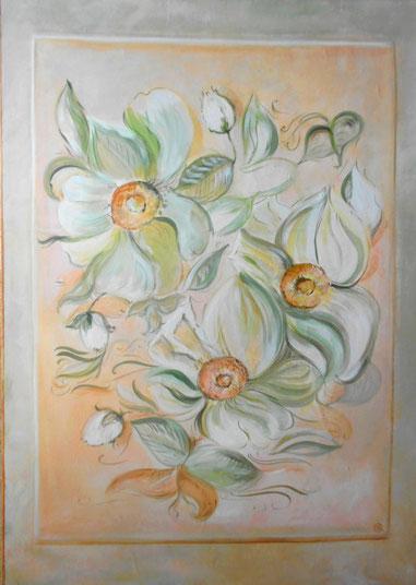peinture de fleurs sur bois.