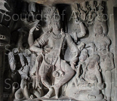 Shiva dancing. 7th century. Cave of Ellora. India, state of Maharashtra.