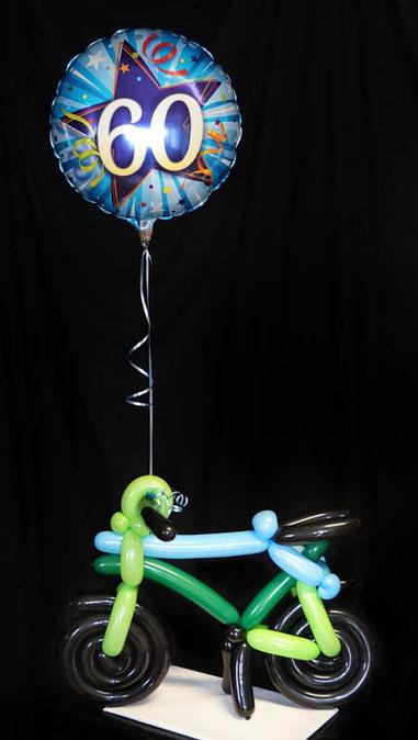 Ballon Luftballon Fahrrad Rad Bicycle Rennrad Mountanbike Modellage Modellierballons Geschenk Geburtstag Gutschein Runder Frau Mann