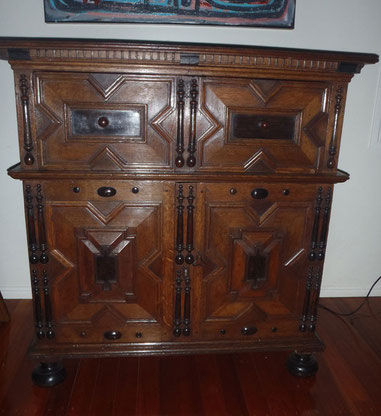 Charles II Oak and Ebonised Timber Cabinet