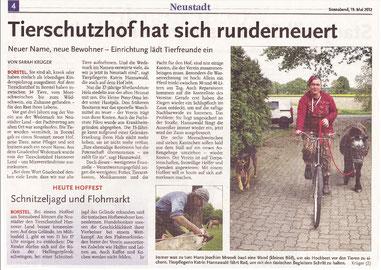 Tierschutzhof hat sich runderneuert, Neustädter Zeitung  19.05.2012
