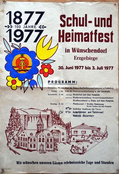 Bild: Teichler Wünschendorf Erzgebirge Plakat zu Schulfest 1977