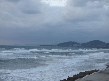 夕方はすっかり北西強まり冬の海でした~