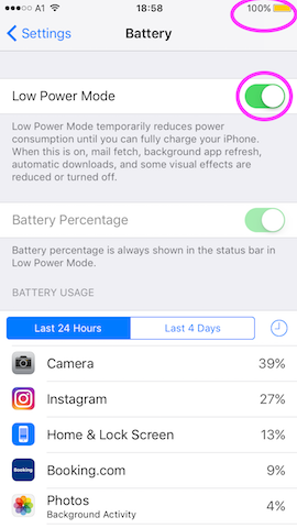 put your phone into lower power mode for travel