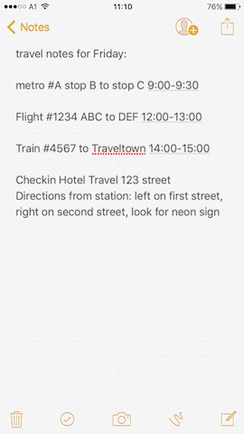 create a note of travel plans before travel