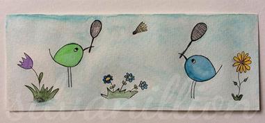 Lesezeichen mit Piepmatz-Illustration, Federballspiel von silvanillion