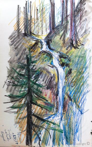 Erwin Bowien ( 1899-1972): Wasserfall im Walde, 1954
