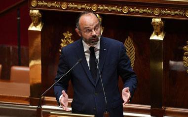 E. Philippe annonçant le plan de déconfinement le mardi 28 avril 2020.