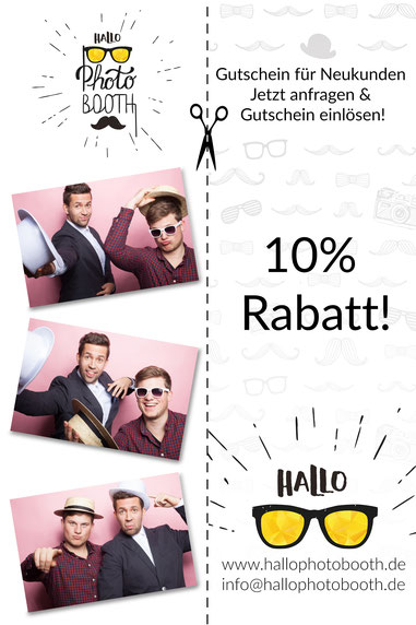 HalloPhotobooth Business Coupon Eventfotograf Bayern Allgäu Fotobox Fotokabine Fotosäule Fotoautomat Photobooth Photo Booth Videobooth Betriebsfeiern Firmenjubiläum Messen Roadshows Konferenzen Tagungen Sommerfeste Sponsoring Party