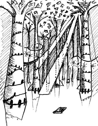 Säulen tragen die Decke der unterirdischen Halle, die wie ein felsenes Laubdach wirkt. Magische Lichter erhellen die Höhle