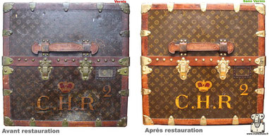 Malle Wardrobe Louis Vuitton  Restauration d'une toile vernis Mark 5 Lire la suite...