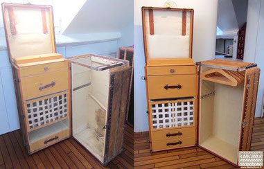 Louis Vuitton complete secretary trunk from 1915 Restoration of a vuittonite trunk interior. Read more...