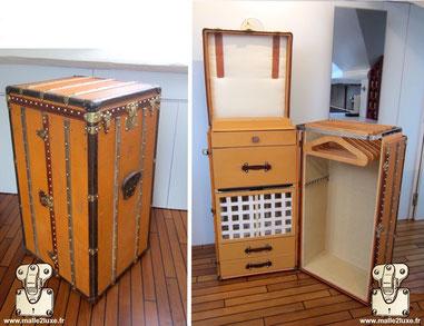 Louis Vuitton wardrobe trunk - Monogram Year: 1915 Serie: Vuittonite Exterior: Yellow Vuittonite Corners: Leather Interior: Wardrobe + locker