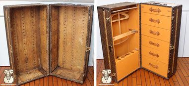 Louis Vuitton Wardrobe trunk from  1927 Extreme restoration the interior is totally missing. Read more...