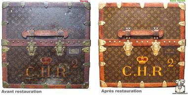 Malle Wardrobe Louis Vuitton  Restauration d'une toile vernis Mark 5 Lire la suite...
