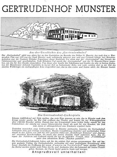 Gertrudenhof - Zeitungsanzeige 1952
