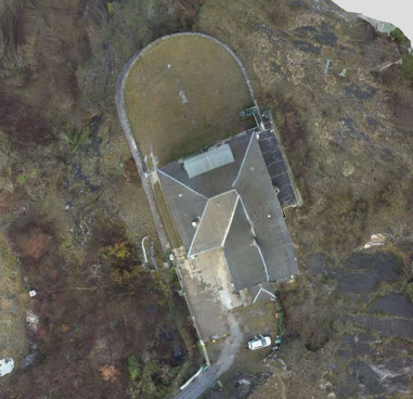 Assemblage de quatre cent quatre vingt photos aériennes prisent par un drone, Yuneec H520. Destiné à l'inspection d'ouvrage, inspection de façades et inspection de la toiture, modélistion 2D / 3D
