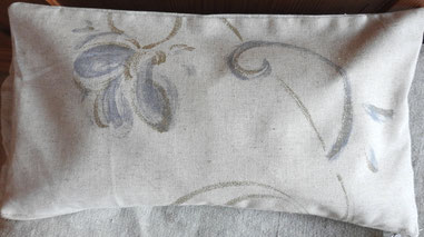 Kissenbezug Leinen/Halbleinen mit aufgedruckten Ranken