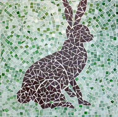Mosaik-Schoko-Osterhase in Pastellgrün