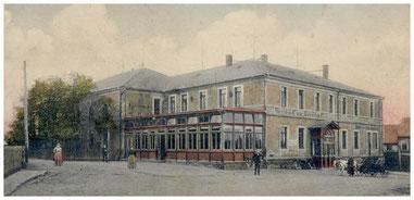 """Gasthof Riemer Lotzdorf, 1891 eingeweiht und """"Erstes Haus am Platze"""""""