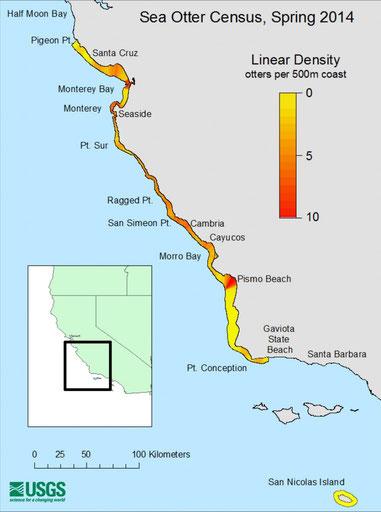 本土沿岸とサンニコラス島における各地域ごとのカリフォルニアラッコの個体数密度を示す地図。Image: USGS