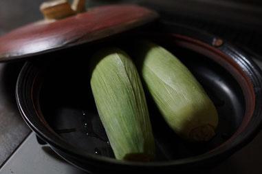 仲本律子 茨城県笠間市 陶芸作家 女性陶芸家 土鍋作品 土鍋 ブログ 土鍋料理 茹でトウモロコシ