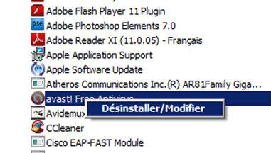 Désinstaller/Modifier