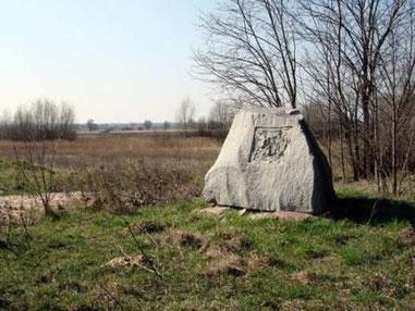 Blick zum Elsbusch mit den Resten des Denkmals für Major Ewald v. Kleist
