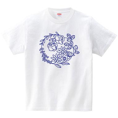 バラ・ラベンダー・カレンデュラの花の輪イラストTシャツデザイン作成制作プリント、リース