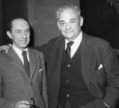 Curt Bois und Fritz Kortner im Schiller-Theater 1959 - 'Die Räuber' (Bundesarchiv: P047613)