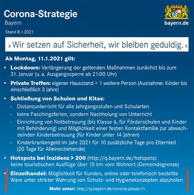 Corona-Strategie Bayern ab Montag, den 11.01.2021