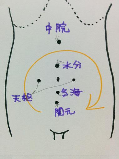 音叉ヒーリングで腸のマッサージをするためのおなかのツボのイラスト