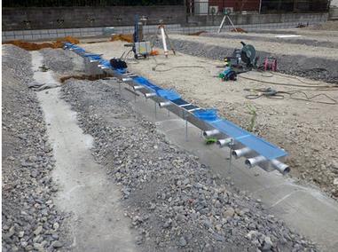 ステンレス側溝、集水桝の取付