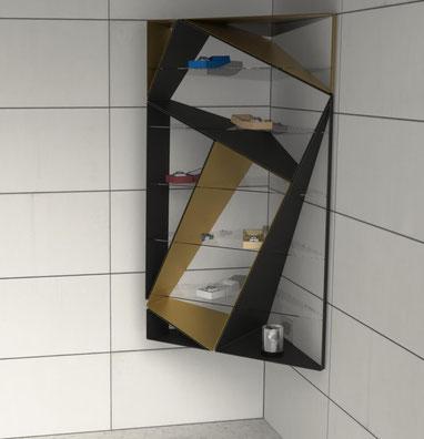 étagère d'angle design pour bijouterie