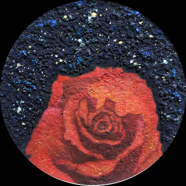 """Red Rose""   φ9.5 cm  Mica Wall Painting. Framed."