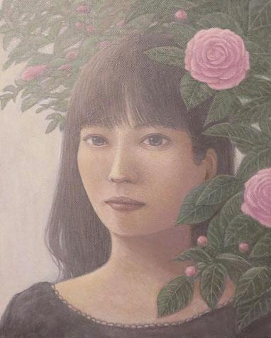 「花とともに」 油彩 F3